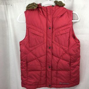 Columbia Pink Hooded Puffer Vest Size Youth 14/16